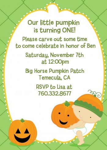 Little Pumpkin Caucasian - Birthday Party Invitations