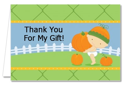 Little Pumpkin Caucasian - Birthday Party Thank You Cards