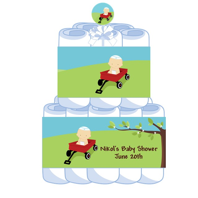 little red wagon jewish boy personalized baby shower diaper cake 2