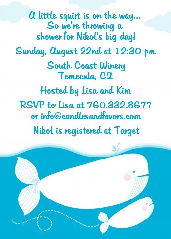 Little Squirt Whale Baby Shower Invitations Candles and Favors