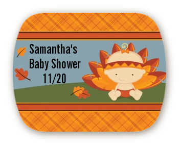 Little Turkey Girl - Personalized Baby Shower Rounded Corner Stickers