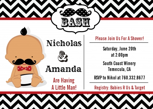 Little Man Mustache Black/Grey - Baby Shower Invitations Caucasian Black/Red