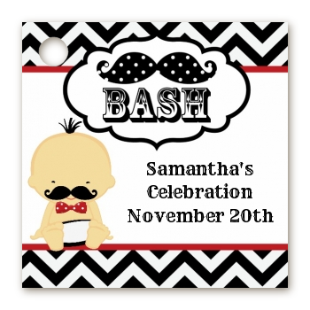 Little Man Mustache Black/Grey - Personalized Baby Shower Card Stock Favor Tags Caucasian