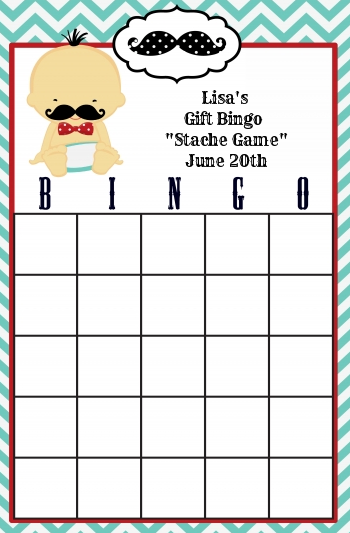 Little Man Mustache - Baby Shower Gift Bingo Game Card Caucasian