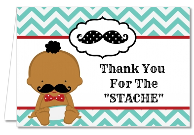 Little Man Mustache - Baby Shower Thank You Cards Caucasian