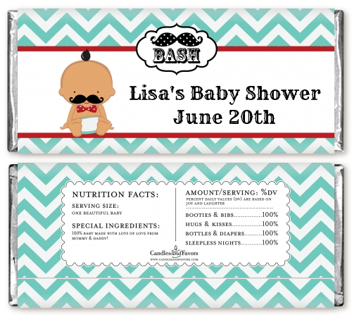 Little Man Mustache - Personalized Baby Shower Candy Bar Wrappers Caucasian