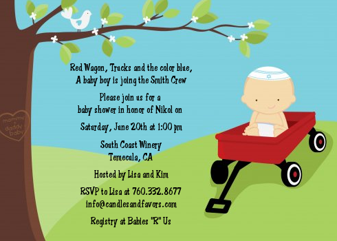 wagon baby shower invitations red wagon themed baby shower invites