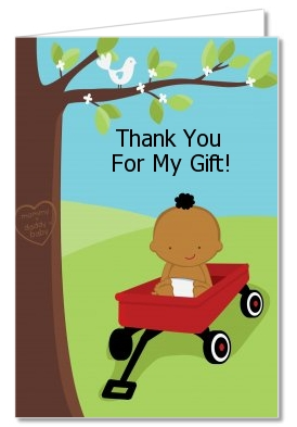 Little Red Wagon - Baby Shower Thank You Cards Caucasian Boy