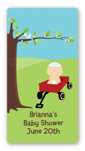 Little Red Wagon - Custom Rectangle Baby Shower Sticker/Labels Caucasian