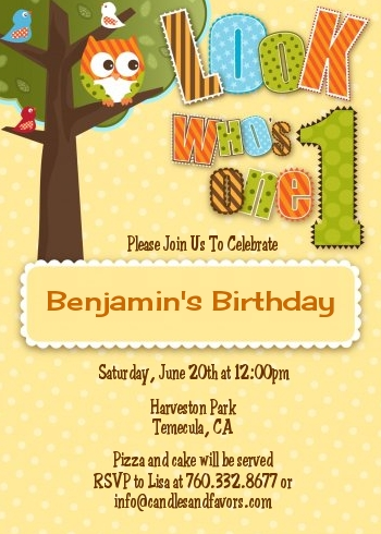 Look Whos Turning One Owl Birthday Party Invitations Candles