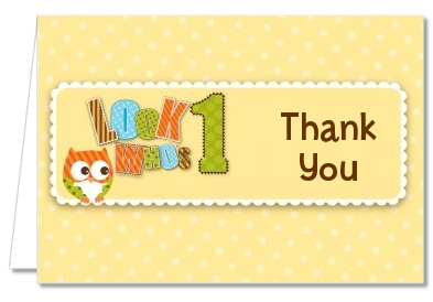 Look Who's Turning One Owl - Birthday Party Thank You Cards