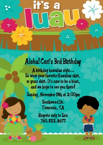 Luau Friends Birthday Party Invitations Candles and Favors