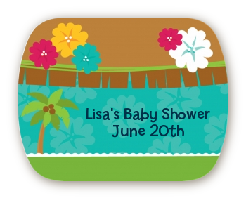 luau baby shower rounded corner stickers