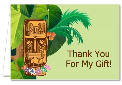 Birthday Party Thank You Cards Luau Tiki Thank You Notes