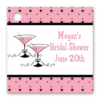 Martini Glasses - Personalized Bridal Shower Card Stock Favor Tags