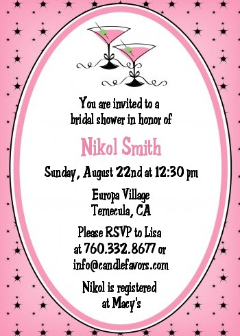 Martini Glasses - Bridal Shower Invitations