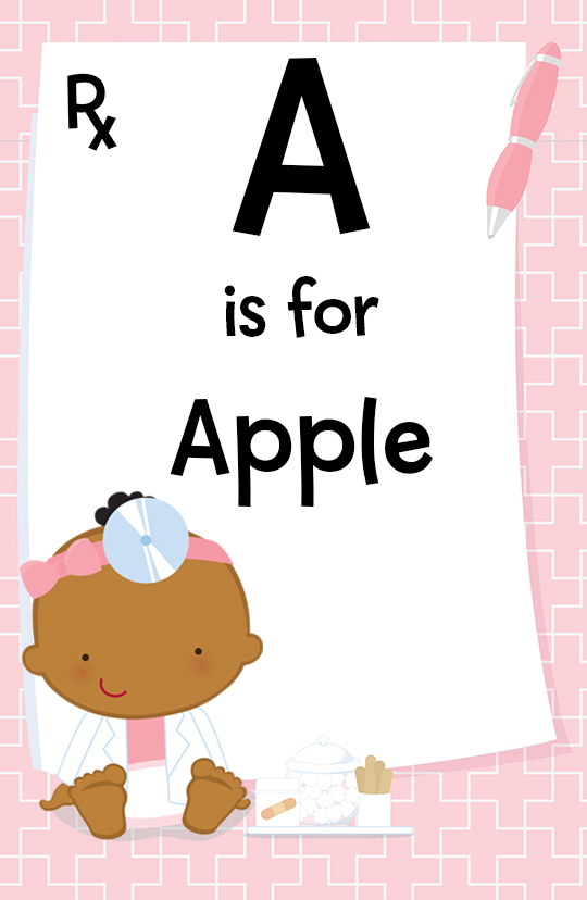 Little Girl Doctor On The Way - Personalized Baby Shower Nursery Wall Art Caucasian
