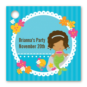 Mermaid African American - Personalized Birthday Party Card Stock Favor Tags