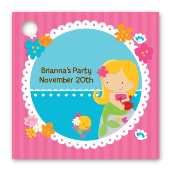 Mermaid Blonde Hair - Personalized Birthday Party Card Stock Favor Tags