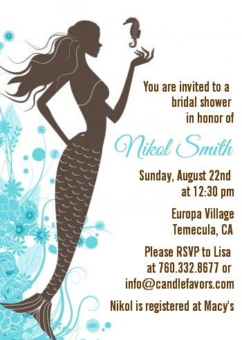 Mermaid Bridal Shower Invitations | Candles and Favors
