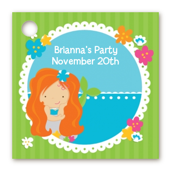 Mermaid Red Hair - Personalized Birthday Party Card Stock Favor Tags