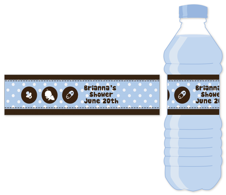 Modern Baby Boy Blue Polka Dots   Personalized Baby Shower Water Bottle  Labels