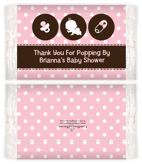 Modern Baby Girl Pink Polka Dots Baby Shower Popcorn Wrappers Baby