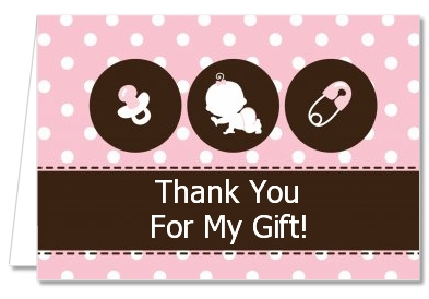 Modern Baby Girl Pink Polka Dots   Baby Shower Thank You Cards