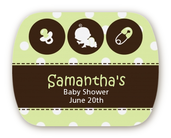 Modern Baby Green Polka Dots - Personalized Baby Shower Rounded Corner Stickers