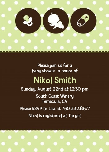 Modern Baby Green Polka Dots Shower Invitations Candles And Favors