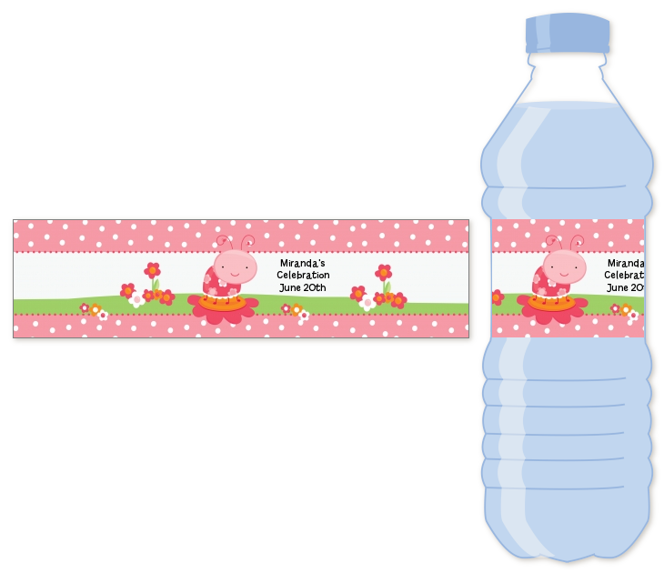 Modern Ladybug Pink Water Bottle Label | Birthday Party Water Bottle ...