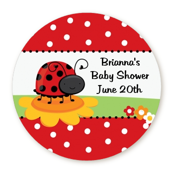Modern Ladybug Red - Round Personalized Baby Shower Sticker Labels