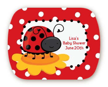 Modern Ladybug Red - Personalized Baby Shower Rounded Corner Stickers