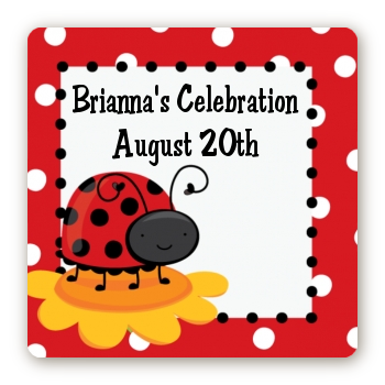 Modern Ladybug Red - Square Personalized Baby Shower Sticker Labels
