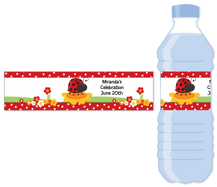 modern ladybug red water bottle label