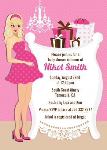 Modern Mommy Crib It's A Girl - Baby Shower Invitations Brown Hair