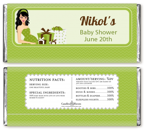 Modern Mommy Crib Neutral - Personalized Baby Shower Candy Bar Wrappers Brown Hair