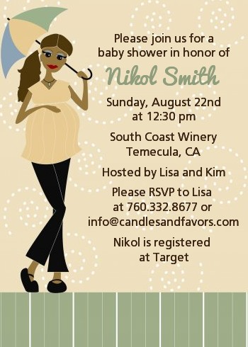 Mod Mom African American Baby Shower Invitations Candles and Favors