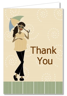Mod Mom African American - Baby Shower Thank You Cards