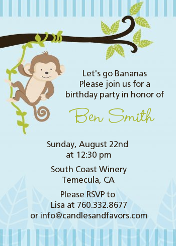 Monkey Boy Birthday Party Invitations Candles and Favors