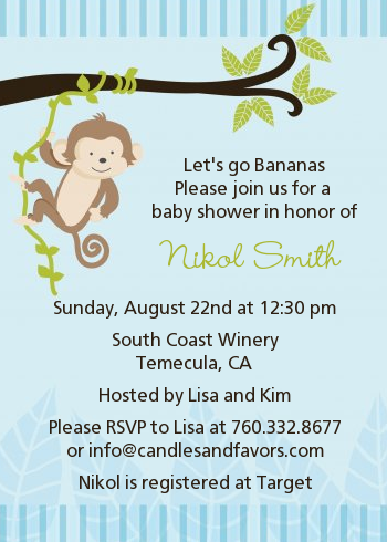 Monkey boy baby shower invitations candles and favors monkey boy baby shower invitations filmwisefo Image collections
