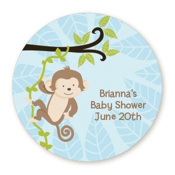 Monkey boy round personalized baby shower sticker labels