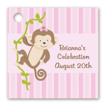 Monkey Girl   Personalized Baby Shower Card Stock Favor Tags