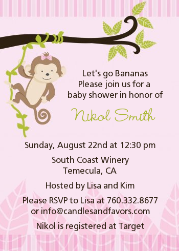 Monkey girl baby shower invitations candles and favors monkey girl baby shower invitations filmwisefo