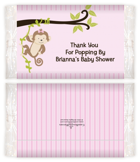 Monkey Girl Baby Shower Popcorn Wrappers Baby Shower Popcorn Wrappers