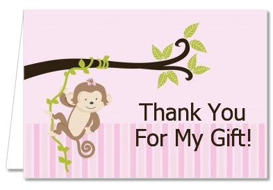 Monkey Girl - Baby Shower Thank You Cards