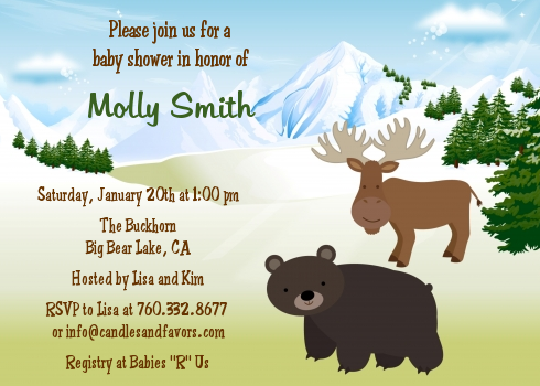 Moose and bear baby shower invitations candles and favors moose and bear baby shower invitations filmwisefo Choice Image