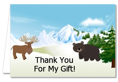 moose and bear baby shower thank you cards