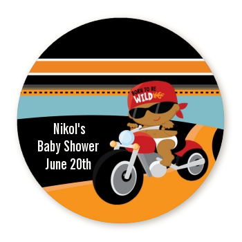 Motorcycle African American Baby Boy - Round Personalized Baby Shower Sticker Labels