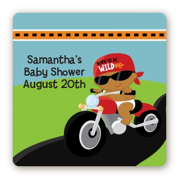 Motorcycle African American Baby Boy - Square Personalized Baby Shower Sticker Labels